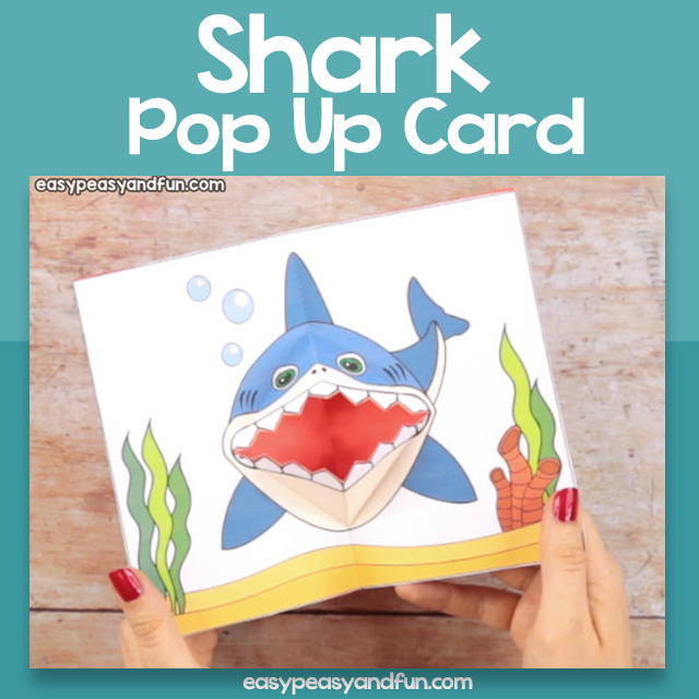photograph relating to Printable Pop Up Cards known as Printable Shark Pop up Card Very simple Peasy and Entertaining Subscription