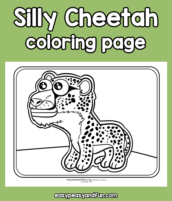 Silly Cheetah Coloring Page
