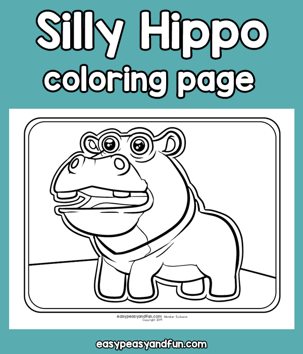 Silly Hippo Coloring Page