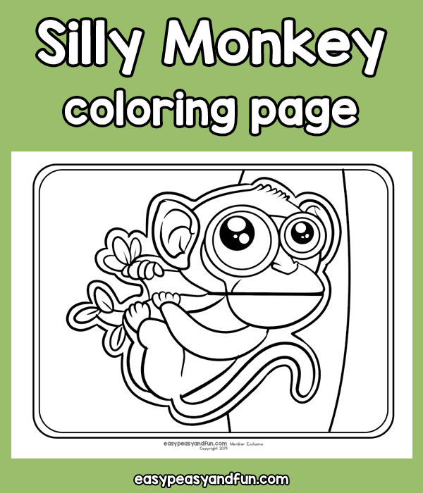 Silly Monkey Coloring Page for Kids