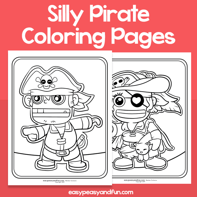 Silly Pirate Coloring Pages for Kids