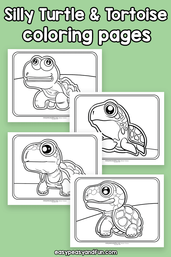 Silly Turtle and Tortoise Coloring Pages