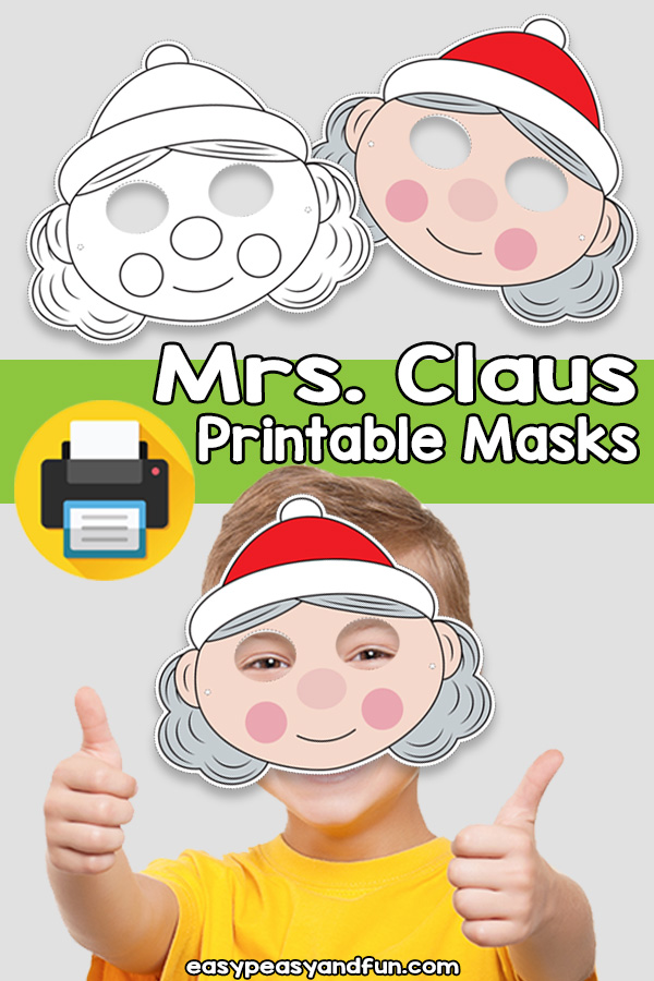 Printable Mrs Santa Claus Mask Template
