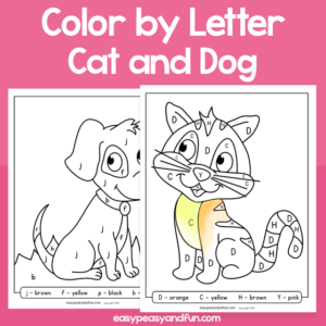 Cat and Dog Color by Letter for Kids