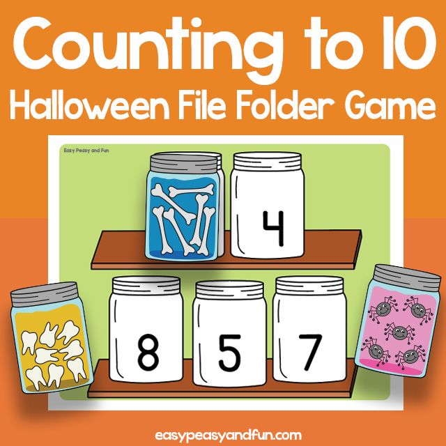 Counting to 10 Halloween File Folder Game