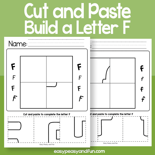 Cut and Paste Build a Letter F Worksheets