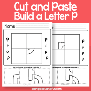 Cut and Paste Build a Letter P Worksheets