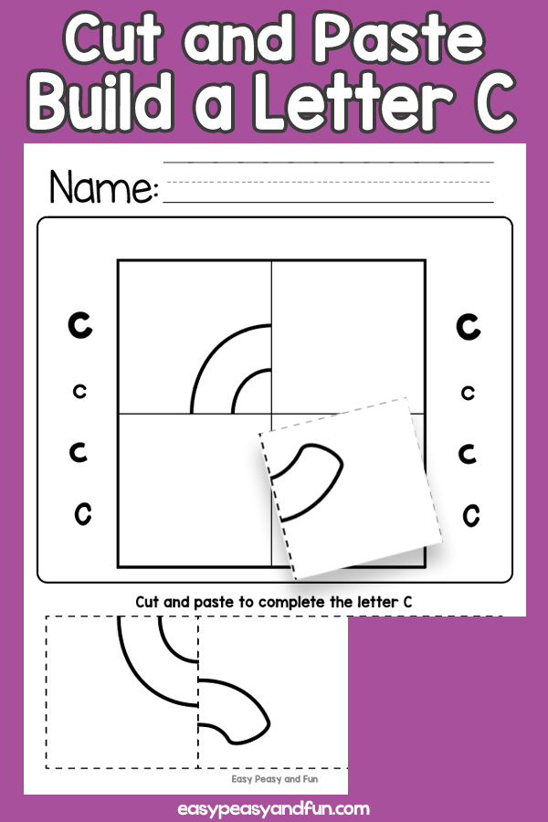 Cut and Paste Letter C Worksheets