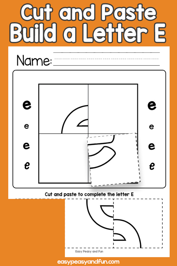 Cut and Paste Letter E Worksheets