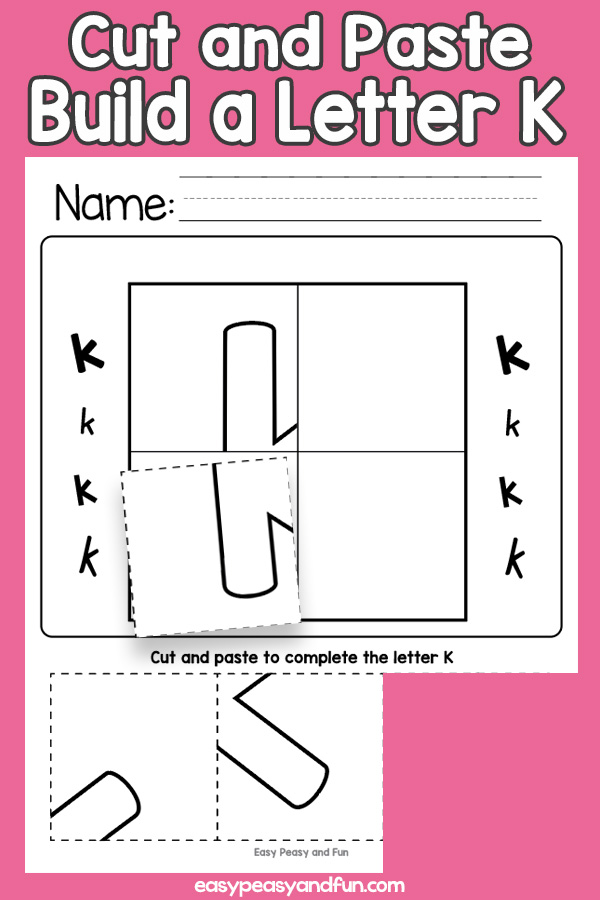 Cut and Paste Letter K Worksheets