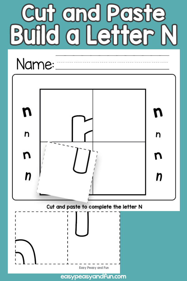 Cut and Paste Letter N Worksheets