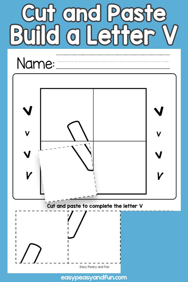 Cut and Paste Letter V Worksheets