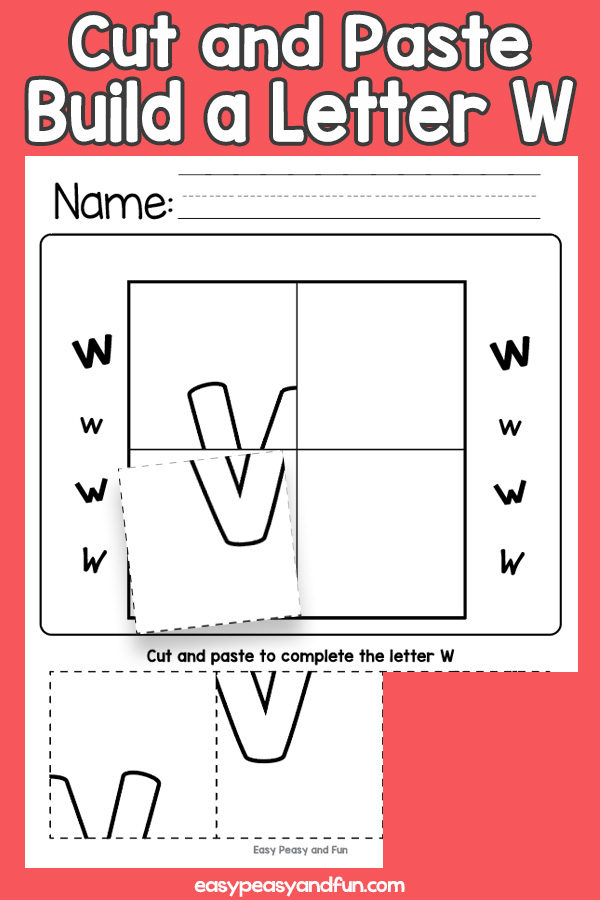 Cut and Paste Letter W Worksheets