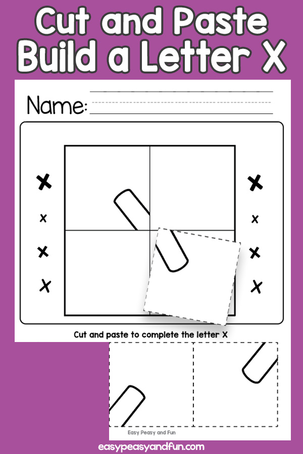Cut and Paste Letter X Worksheets