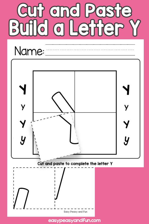 Cut and Paste Letter Y Worksheets