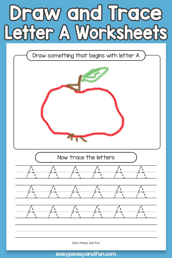 Draw and Trace Letter A Worksheets for Kids