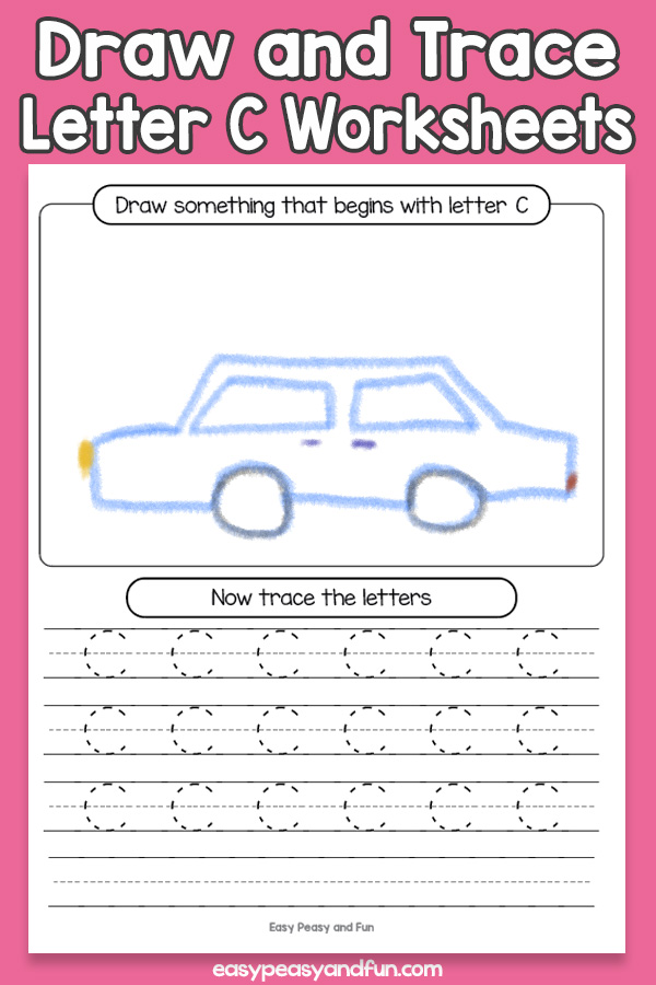 Draw and Trace Letter C Worksheets for Kids