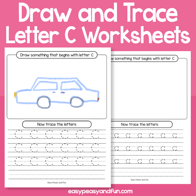 Draw and Trace Letter C Worksheets