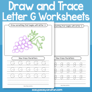 Draw and Trace Letter G Worksheets