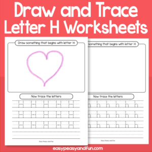 Draw and Trace Letter H Worksheets