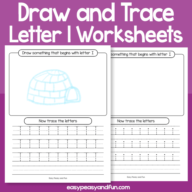 Draw and Trace Letter I Worksheets