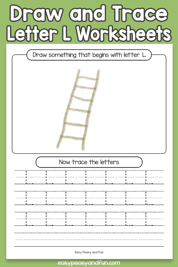 Draw and Trace Letter L Worksheets for Kids