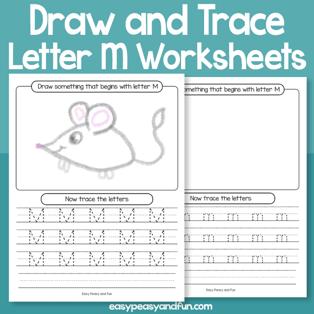 Draw and Trace Letter M Worksheets