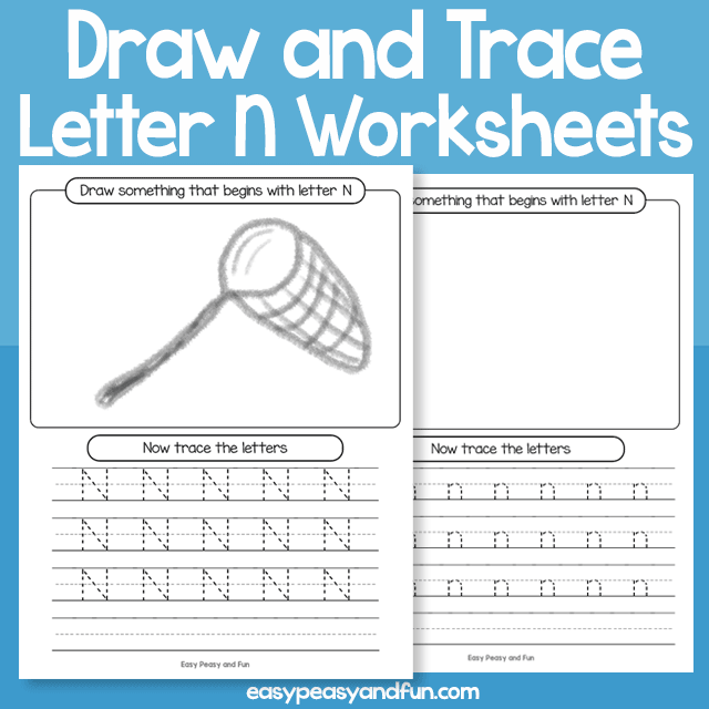 Draw and Trace Letter N Worksheets