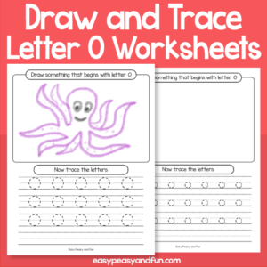 Draw and Trace Letter O Worksheets