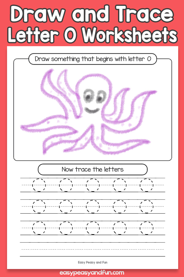 Draw and Trace Letter O Worksheets for Kids