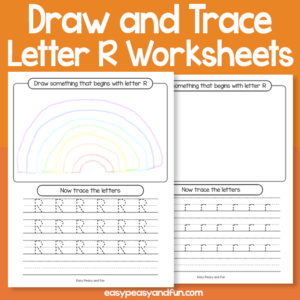Draw and Trace Letter R Worksheets