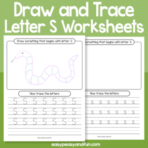 Draw and Trace Letter S Worksheets