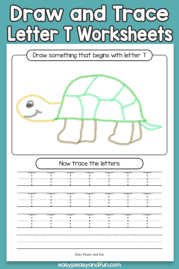 Draw and Trace Letter T Worksheets for Kids