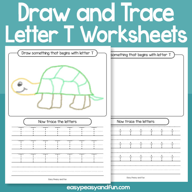 Draw and Trace Letter T Worksheets