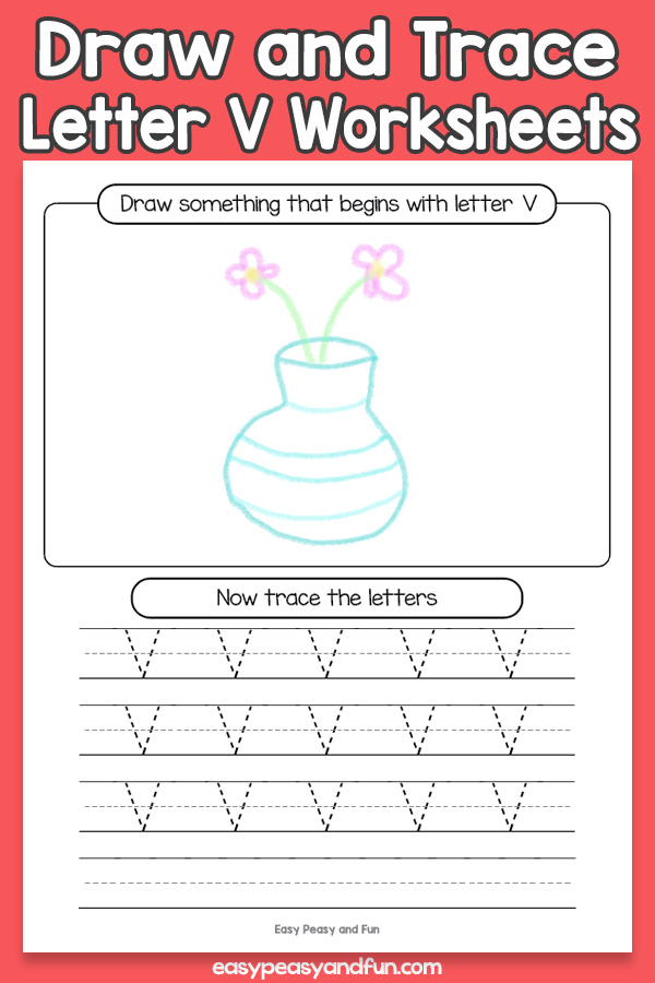 Draw and Trace Letter V Worksheets for Kids