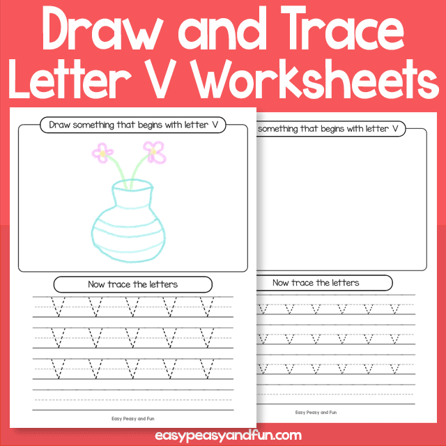 Draw and Trace Letter V Worksheets