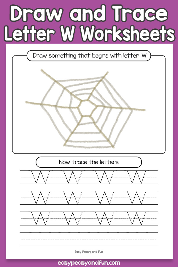 Draw and Trace Letter W Worksheets for Kids