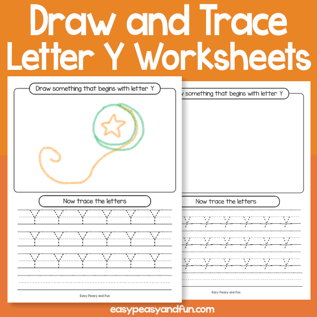 Draw and Trace Letter y Worksheets
