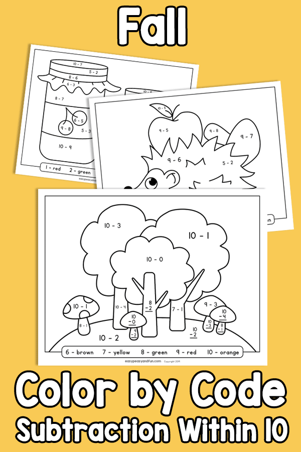 Fall Color by Code Subtraction within 10 Worksheets