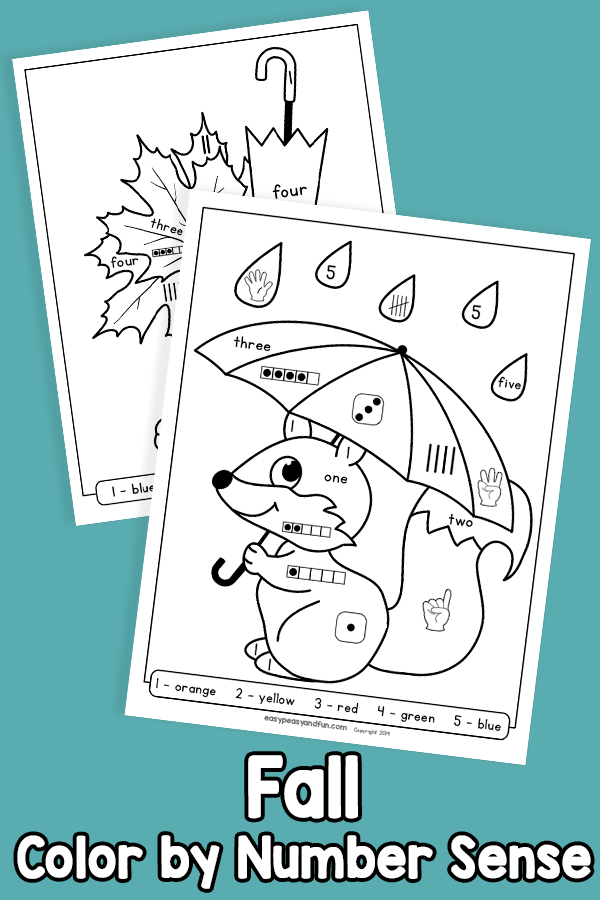 Fall Color by Number Sense Worksheets