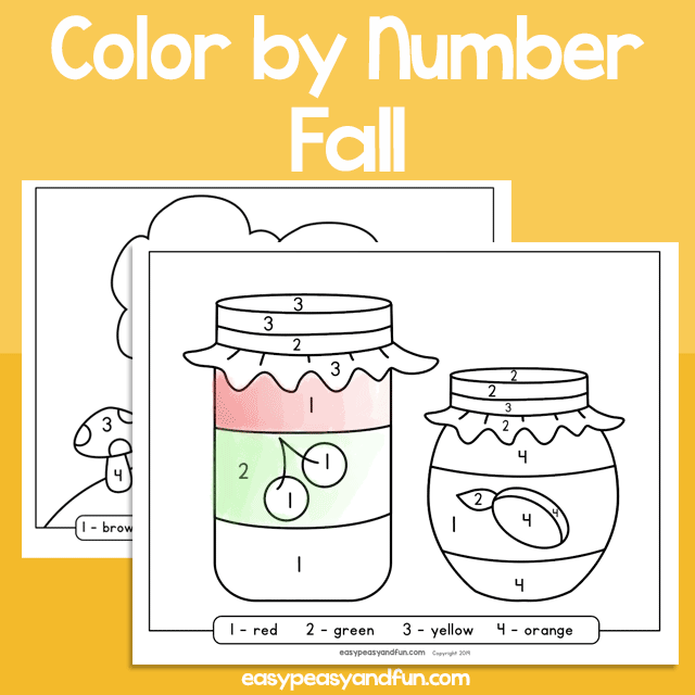 Fall Color by Number for Kids