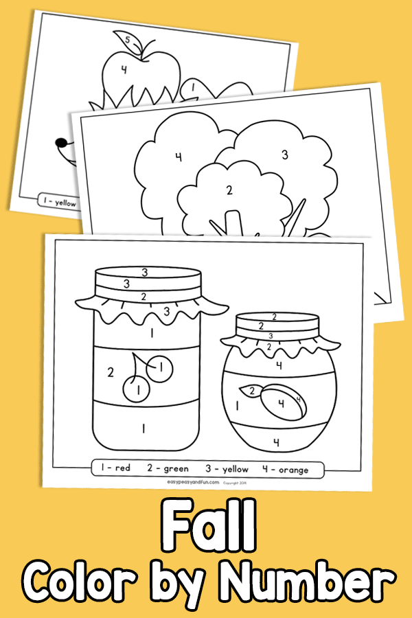 Fall Color by Number Worksheets for Preschool and Kindergarten