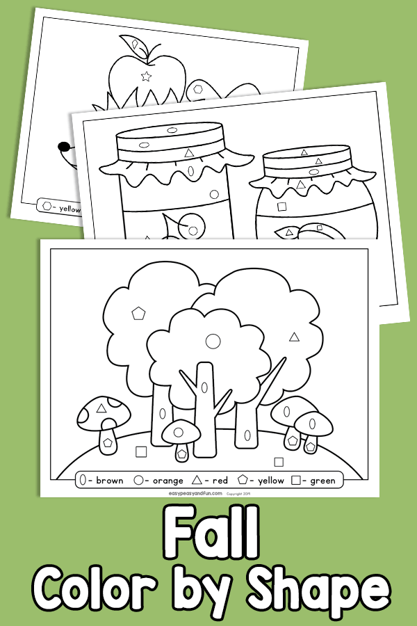 Fall Color by Shape Worksheets