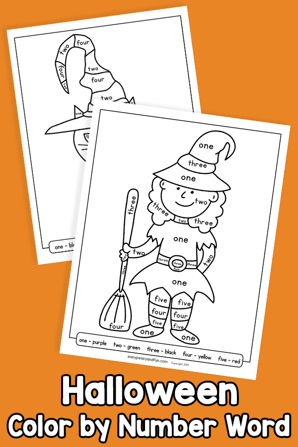 Halloween Color by Number Word Worksheets
