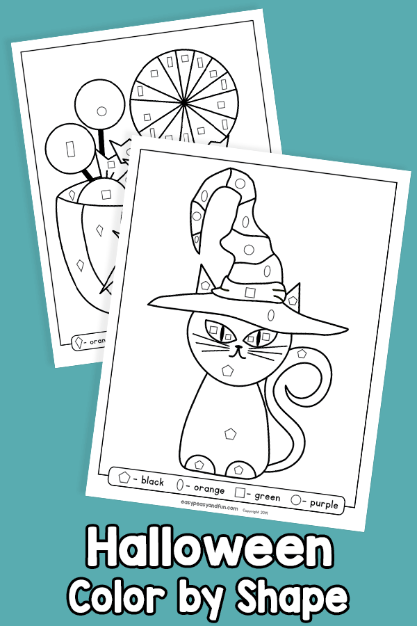 Halloween Color by Shape Worksheets