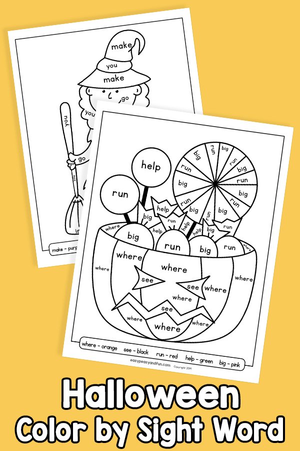 Halloween Color by Sight Word Worksheet