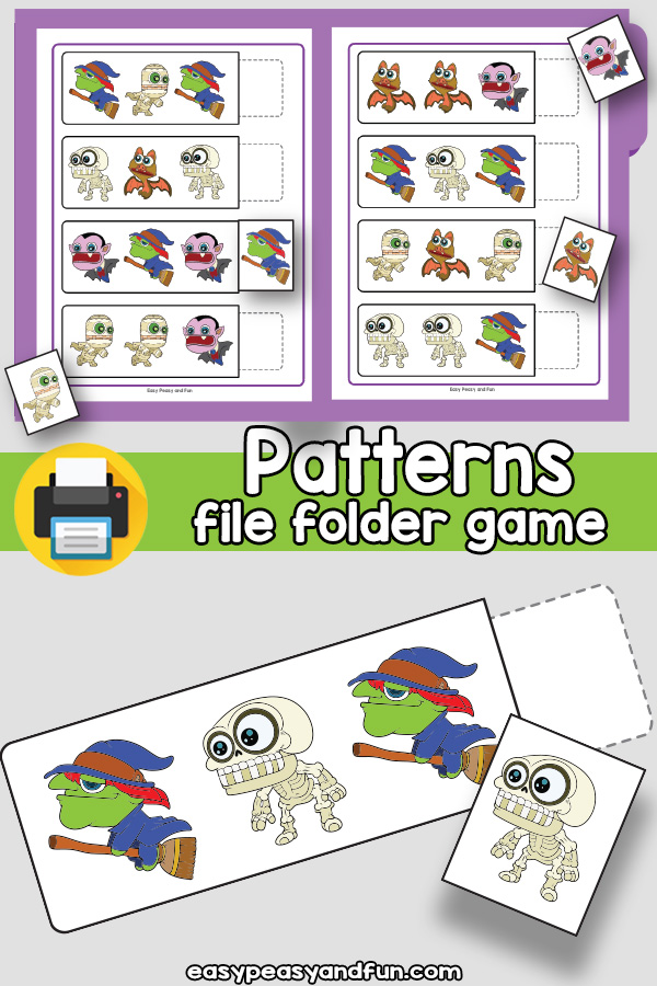 Halloween Patterns File Folder Game