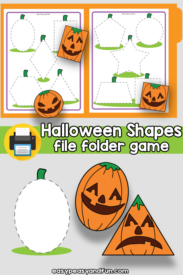 Halloween Shapes File Folder Game