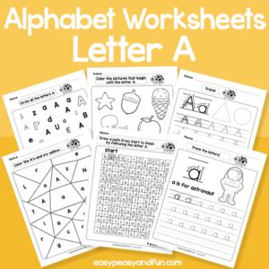Letter A Alphabet Worksheets for Kindergarten
