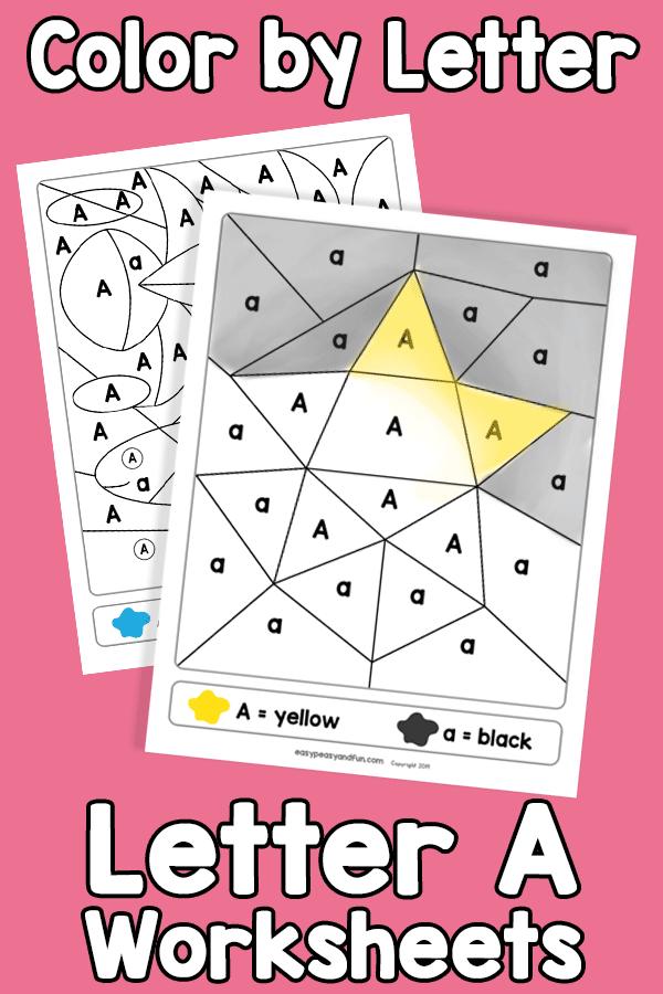 Letter A Color by Letter Worksheets